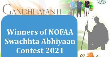 Winners of NOFAA Swachhta Abhiyaan Contest